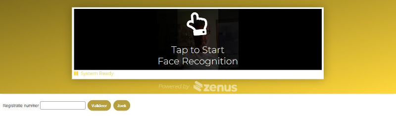 Face recognition start screen